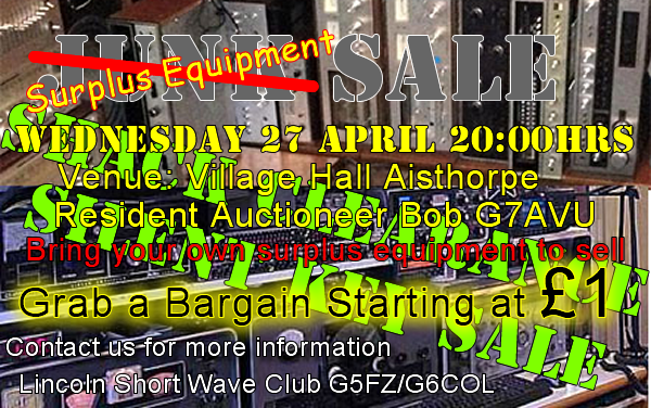 Surplus Equipment Sale 27th April 2016