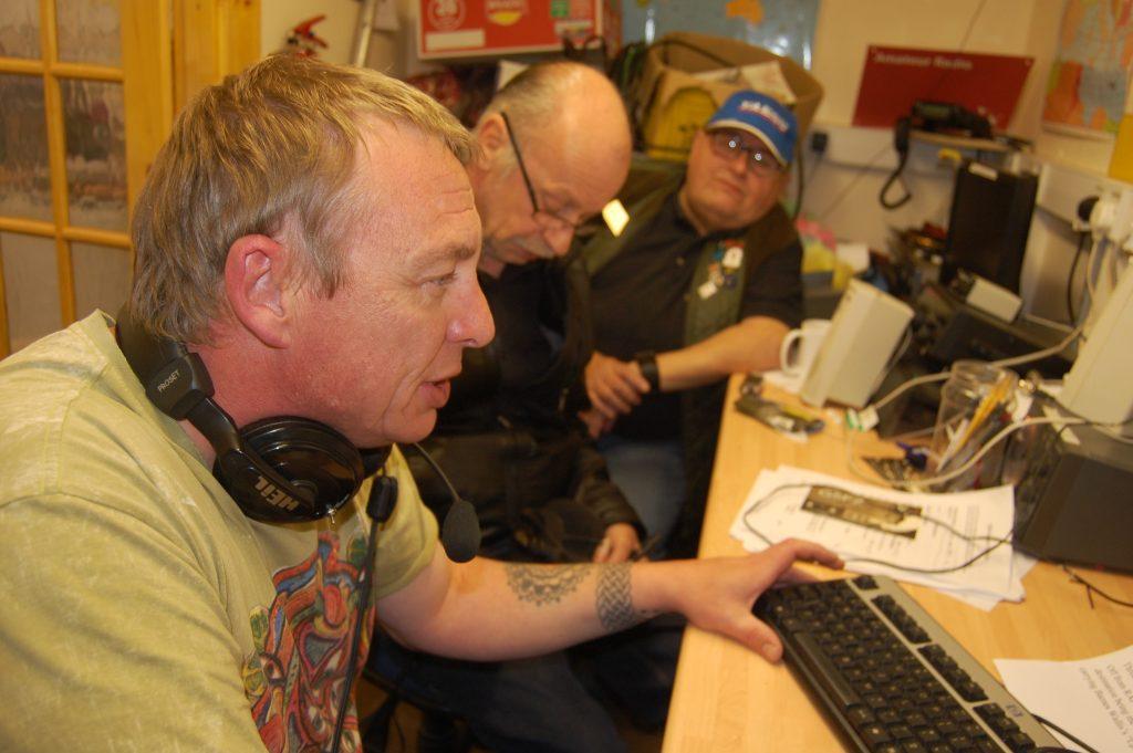 LSWC operating GB5DAM. Simon M0SIY on the mic, with Geoff M0YBG and Steve M5ZZZ looking on.