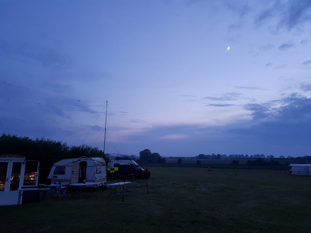 Mast up as the sun Sets over the Fir Park Show.
